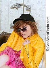 eighties fashion metaphor woman yellow jacket