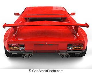 Eighties red sports car - back view