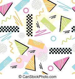 Eighties Seamless Pattern Vector. Classic light pastel 1980s...
