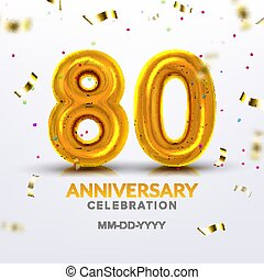 Eightieth Anniversary Celebration Number Vector