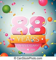 Eighty eight years anniversary celebration background. Anniversary ribbon