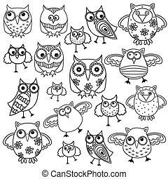 Eighty funny owls black outlines - Set of eighty funny owls,...