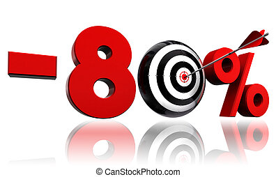 eighty per cent red discount symbol with target