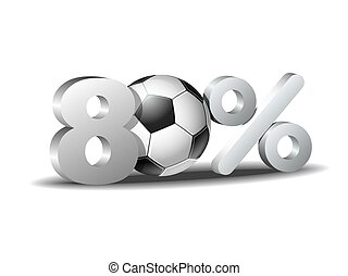 Eighty percent discount icon with soccer ball