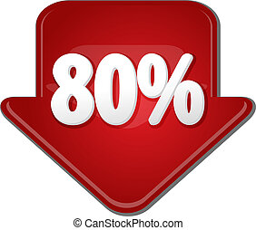 Eighty percent down arrow bubble illustration