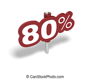 eighty percent red sign over a white background
