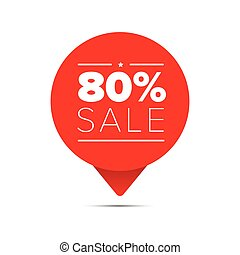 Eighty percent sale offer tag vector