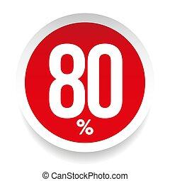 Eighty percent sale sticker vector