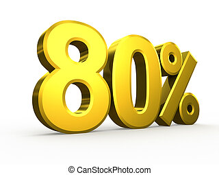 Eighty percent symbol on white background