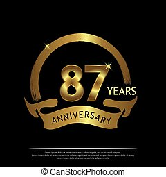 Eighty seven years anniversary golden. anniversary template design for web, game ,Creative poster, booklet, leaflet, flyer, magazine, invitation card - Vector