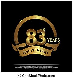 Eighty three years anniversary golden. anniversary template design for web, game ,Creative poster, booklet, leaflet, flyer, magazine, invitation card - Vector