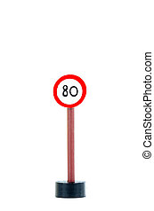 eighty traffic sign isolated on white background with copy space for text