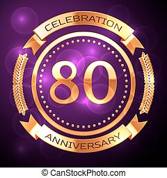 Eighty years anniversary celebration with golden ring and...