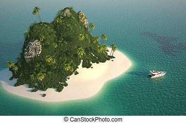 eiland, aanzicht, luchtopnames, paradijs
