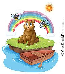eiland, bijtjes, twee, beer
