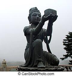 eiland, boeddhist, kong)., standbeeld, (hong, lantau