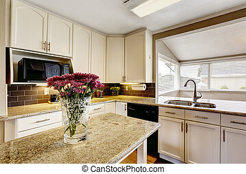 eiland, bovenzijde, bloemen, keuken, graniet