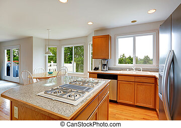 eiland, bovenzijde, keuken, kamer, graniet