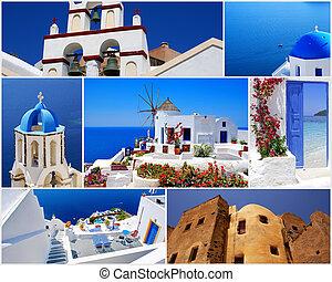 eiland, collage, reizen, santorini, griekenland, beelden