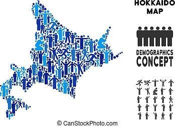 eiland, demographics, hokkaido, kaart