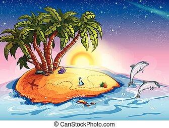 eiland, dolfijnen, schat, illustratie, oceaan