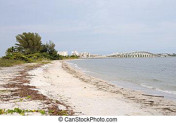 eiland, florida, brug, sanibel