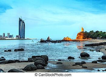 eiland, gulangyu, nacht, scape