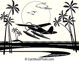 eiland, het opstijgen, seaplane, oceaan