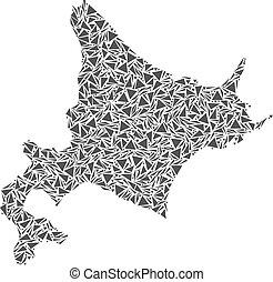 eiland, hokkaido, driehoeken, kaart