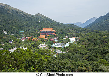 eiland, hongkong, lin, klooster, po, lantau