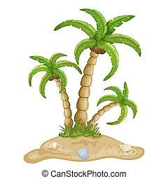 eiland, illustratie, tropische
