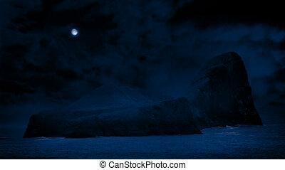 eiland, in, oceaan, met, volle maan