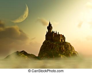 eiland, kasteel, onder, een, cresent, maan