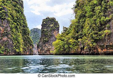 eiland, nga, phang, thailand