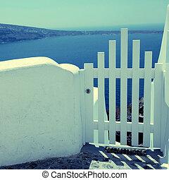 eiland, omheining, oia, santorini, zee, kleine, poort, witte , greece., aanzicht