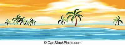eiland, ondergaande zon , natuur
