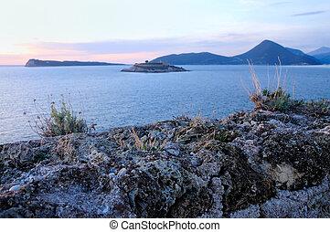 eiland, op, ondergaande zon