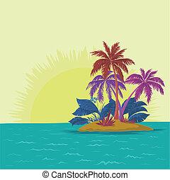 eiland, palm, zon
