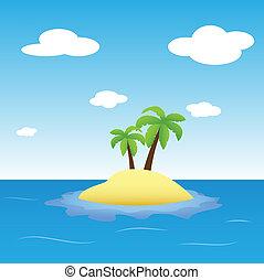 eiland, palms-, twee, illustratie