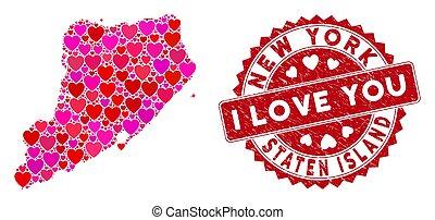 eiland, postzegel, grunge, staten, mozaïek, liefde, kaart,...