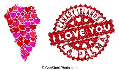 eiland, postzegel, mozaïek, liefde, palma, la, textured,...