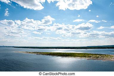 eiland, rivier, zonnige dag