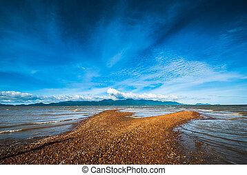 eiland, sandbar, tegenoverstaand