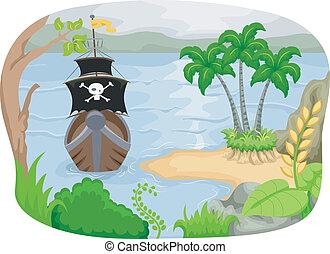 eiland, scheeps , zeerover