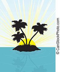 eiland, silhouette