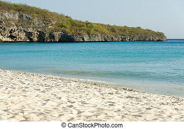 eiland, strand, de caraïben, curacao, zanderig