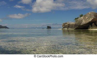 eiland, strand, in, indische oceaan, op, seychellen