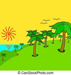 eiland, sunset., palmen, tropische
