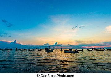 eiland, tao, ondergaande zon , scheepje, zee