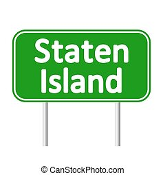 eiland, teken., groene, staten, straat